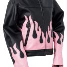 Ladies Blk jacket w/pink flames