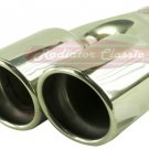 "Brand New 2-1/4"" Weld On Stainless Steel Slanted Twin Round Exhaust Tip"