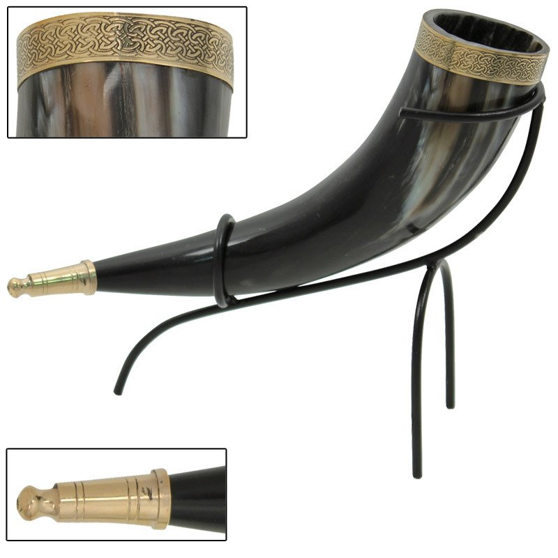 Brass Adorned Viking drinking horn with hand forged Iron stand for beer wine mead pagan Celtic