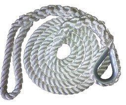 3/4 X 10 Ft 3 Strand Mooring Pendant Nylon Rope  with Thimble