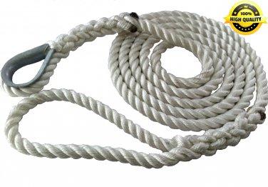 3/8 X 8 Ft 3 Strand Mooring Pendant Nylon Rope with Thimble
