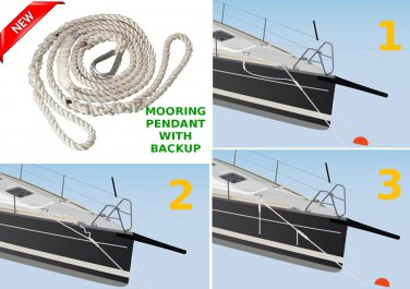 NEW Driftproof Mooring Pendant Line. 3 Strand Nylon Rope with Thimble. 5/8 X 12 Launch Offer