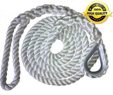 3/4 X 15 Ft 3 Strand Mooring Pendant Nylon Rope  with Thimble