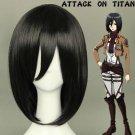 Attack on Titan Mikasa Ackerman Short Black Straight Cosplay Wig