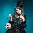 Fashion Womens Long Wavy Curly Green&Grey Hair Cosplay Lolita Costume Full Wig
