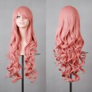 """32"""" 80cm Long Hair Heat Resistant Spiral Curly Cosplay Wig with Free Wig Cap (80cm:dark Pink)"""