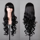 "32"" 80cm Long Hair Heat Resistant Spiral Curly Cosplay Wig (Black)"
