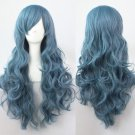 Womens Long Wavy Curly Blue Harajuku Hair Anime Full Wigs Cosplay Costume Party