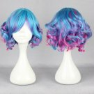 Lolita has a head of blue pink hair short mixed full wig wig party Harajuku animation cosplay