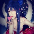 League Of Legends LOL The Nine-Tailed Fox Ahri 100cm Blue And Black Cosplay Wig Free Shipping