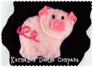 Pink Pig - Big Girl Felt Hair Clip