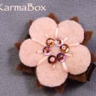 Pink Brown Flower Beaded Felt Hair Clip