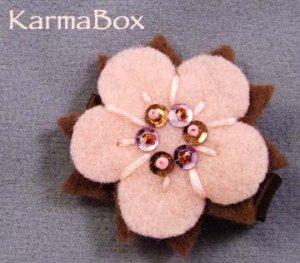 Pink Brown Flower Beaded Felt Hair Clip