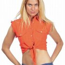 Women's Orange Denim Sleeveless Shirt with Buttons  free shipping