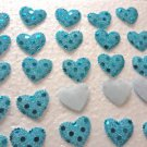Heart Blue Padded Appliques 25 Pc.