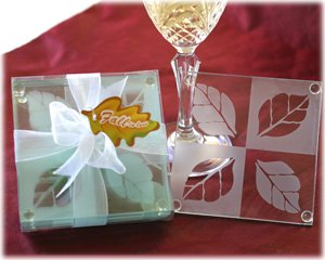"""Fall in Love"" Frosted Leaf Design Glass Coasters (Set of 4) Wedding Favors"
