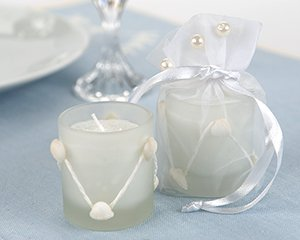 Coastal Elegance Frosted Glass Votive with Pearl Accented Organza Bag Wedding Favors