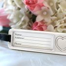Elegant Chrome Luggage Tag w/ Engraved Heart Destination Wedding Favors