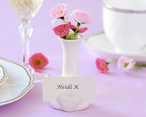 """""""A Place in my Heart"""" bud vase and place card holder"""