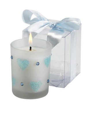 Glass Candle With Hearts and Rhinestones - Blue, Gold & Silver Wedding Favors