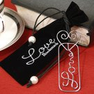 """Mark it with Love"" Silver Silhouette Bookmark in Embroidered Velvet Pouch Wedding Favors"