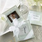 """Good Wishes"" Pearlized Photo Coasters - Set of 2 Wedding Favors"