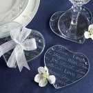 """Good Wishes"" Heart Glass Coasters - Set of 2 Wedding Favors"