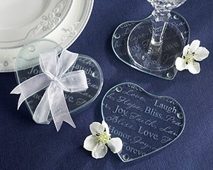 """""""Good Wishes"""" Heart Glass Coasters - Set of 2 Wedding Favors"""