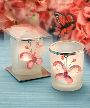 Crystal Butterfly Design Candle Holders - Pink or Clear