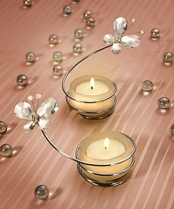 Crystal Butterfly Candle Holders - Clear or Pink