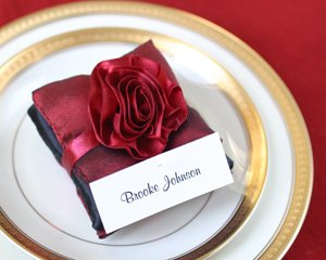 Burgundy and Black Satin Pillow Scented Sachets Wedding Favors