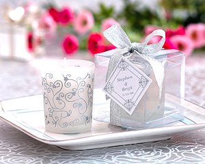 Scented Frosted Glass Votive- Hearts & Vines Wedding Favors
