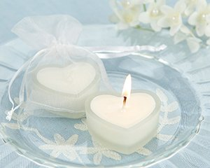 'HeartLights' Frosted Glass Heart Candles - Set of 4 Wedding Favors
