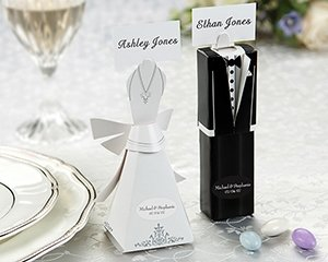 Bride and Groom Wedding Favor Boxes/Placecard holders- set of 12