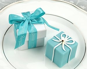 """""""Something Blue"""" Gift Box Candle in Pearlized Box with Satin Printed Ribbon Wedding Favors"""