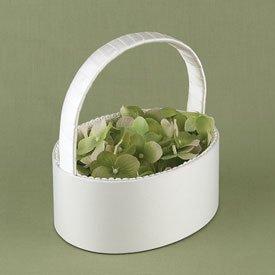 Oval Shaped Flower Girl Basket - Ivory or White