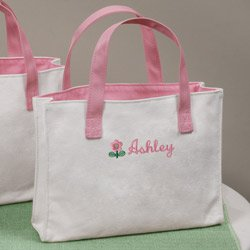 Personalized Pink Flower Girl Tote Bag
