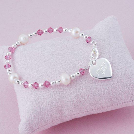 Personalized Girl's Flower Charm Flower Girl Bracelet