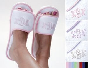 Personalized Terry Cloth Spa Embroidered Slippers - Monogram Bridesmaid Gift