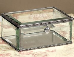 Personalized Beveled Glass Enraved Jewelry Box - Bridesmaid Gift