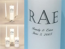 Personalized Monogram Unity Candle Wedding Set & Stand