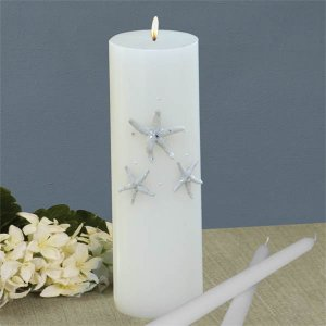 Beach Theme Wedding Unity Candle Set (Real Starfish & Swarovski Crystals) - White or Ivory
