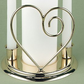 Contemporary Heart Wedding Unity Candle Holder - Brass or Silver