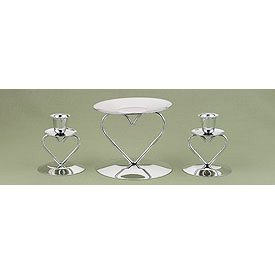 Heart Wedding Unity Candle Stands - Gold or Silver