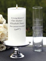 Personalized Engraved Wedding Memorial Candle Set and Budvase