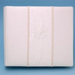 Personalized Brocade Monogram Wedding Album w/ Scrapbooking Memory Pages