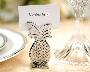 Set of 4 Silver Pineapple Wedding Reception Placecard Holders