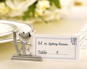 Set of 4 Silver LOVE Wedding Reception Place Card Holders with Matching Place Cards