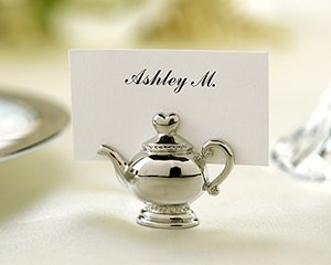 Silver Teapot Wedding Reception Placecard Holders