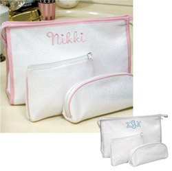 Embroidered 3-PieceTerry Cloth Cosmetic Bags - Personalized Bridesmaid Gift